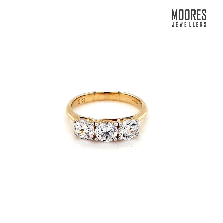 9ct. Yellow Gold Three Stone Ring