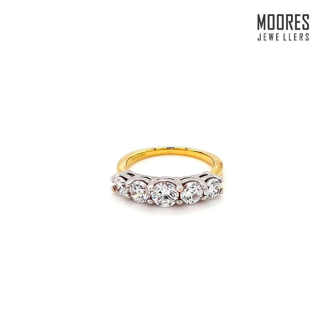 9ct. Yellow Gold Round Brilliant Five Stone Ring