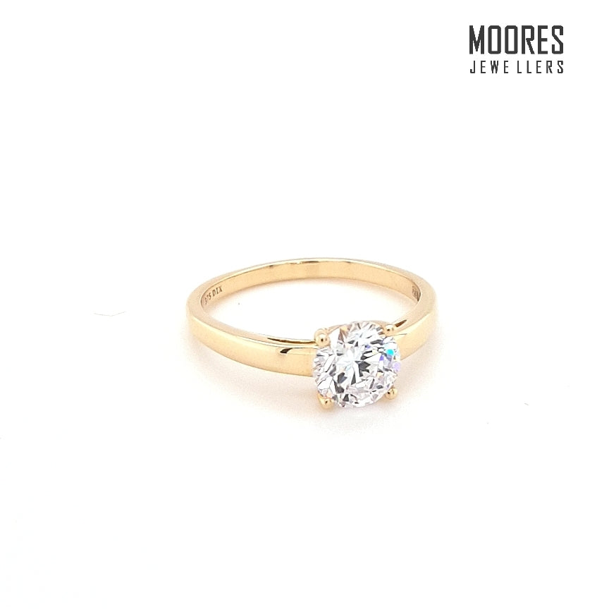 9ct. Yellow Gold Round Brilliant Solitaire Ring
