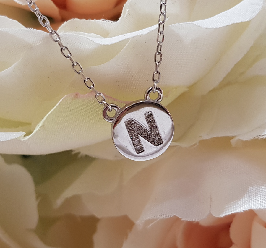 Sterling Silver Stone Set Initial Pendant & Chain - Letter N