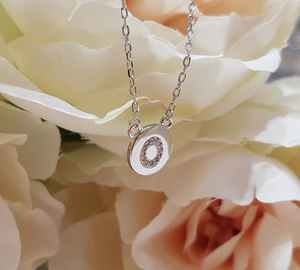 Sterling Silver Stone Set Initial Pendant & Chain - Letter O
