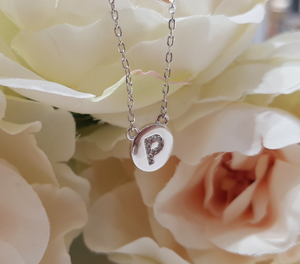 Sterling Silver Stone Set Initial Pendant & Chain - Letter P