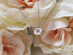 Sterling Silver Stone Set Initial Pendant & Chain - Letter R