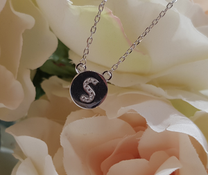 Sterling Silver Stone Set Initial Pendant & Chain - Letter S