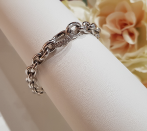 Heavy Sterling Silver Bracelet, with Stone Set Clasp