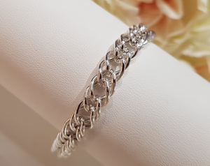 Double Twisted Curb Sterling Silver Bracelet