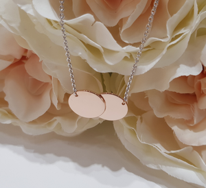Sterling Silver, Rose Gold Plated, Double Disc Pendant and Chain