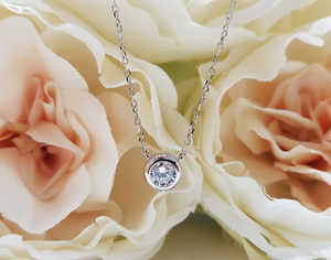 Sterling Silver Stone Set Bezel Set Solitaire Pendant and Chain