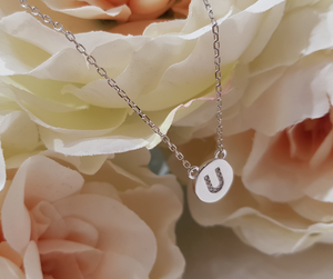 Sterling Silver Stone Set Initial Pendant & Chain - Letter U