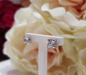 9ct. White Gold Stone Set Stud Earrings