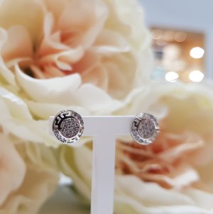 9ct. White Gold Stone Set Cluster & Halo Stud Earrings