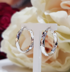 9ct. White Gold Faceted Hoop Earrings