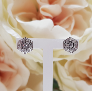 9ct. White Gold Stone Set Hexagonal Stud Earrings