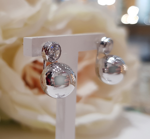 9ct. White Gold Stone Set Ball Stud Drop Earrings