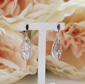 9ct. White Gold Stone Set Drop Earrings