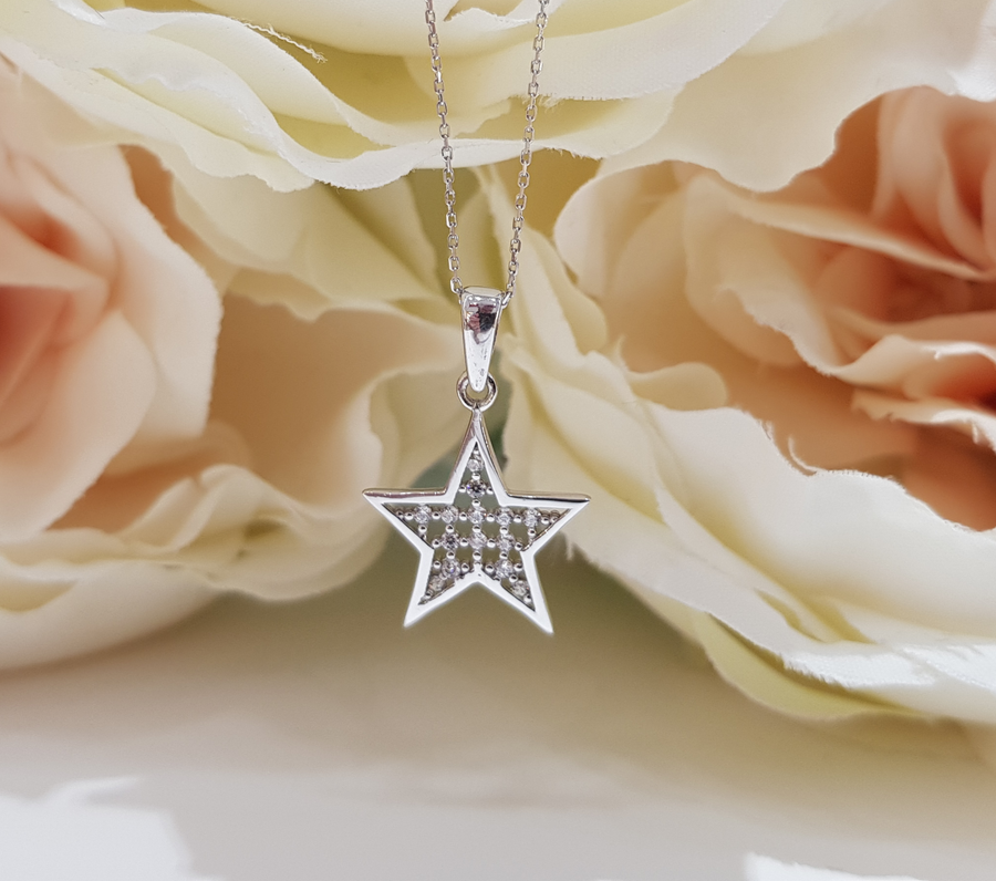 9ct. White Gold Stone Set Latticed Star Pendant and Chain