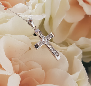 9ct. White Gold & Stone Set Cross & Chain
