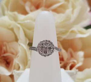 18ct. White Gold Halo Cluster Diamond Ring