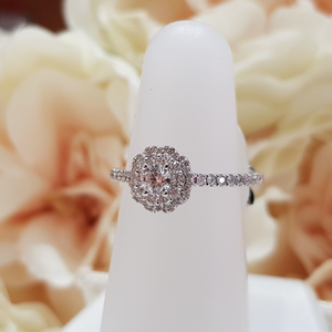 9ct. White Gold Double Halo Diamond Engagement Ring