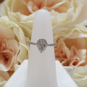 9ct. White Gold Pear Shaped Halo Diamond Engagement Ring
