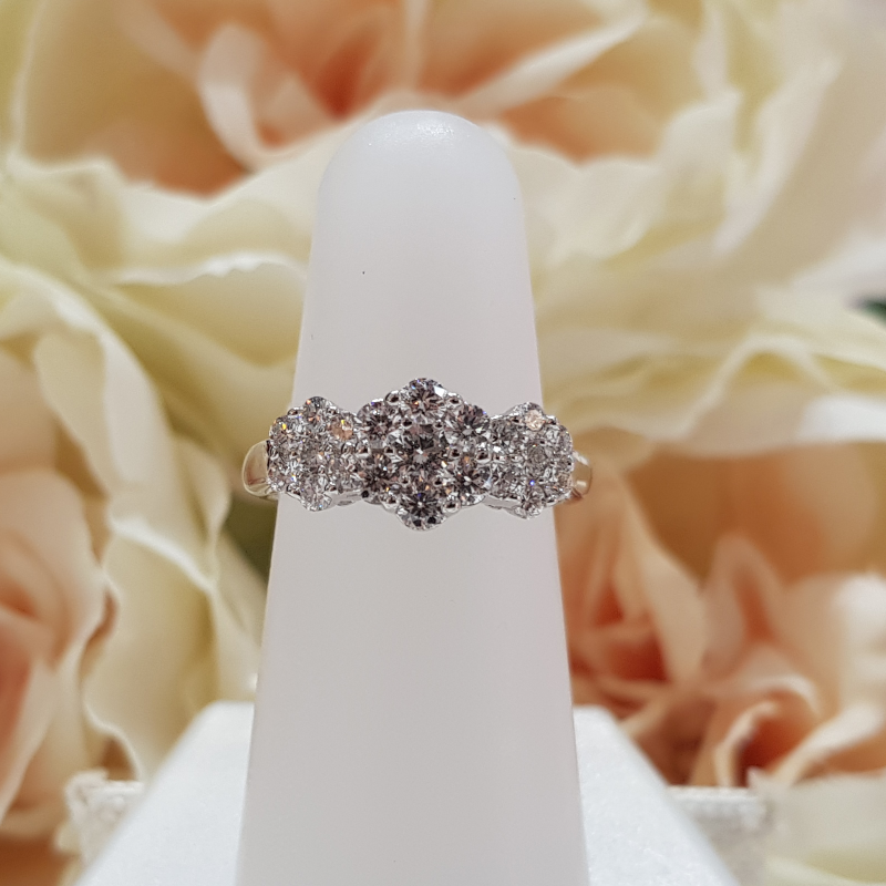 9ct. White Gold Triple Cluster Diamond Engagement Ring