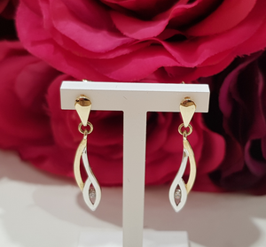 9ct. Yellow & White Gold Stone Set Drop Earrings