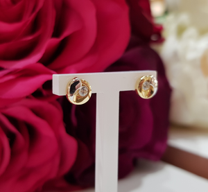 9ct. Yellow & White Gold Stone Set Stud Earrings