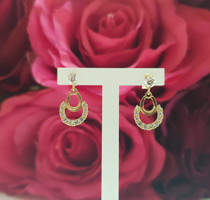 9ct. Yellow Gold Stone Set Half Moon Drop Earrings