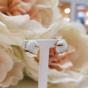 9ct. Yellow Gold and Opal Earrings