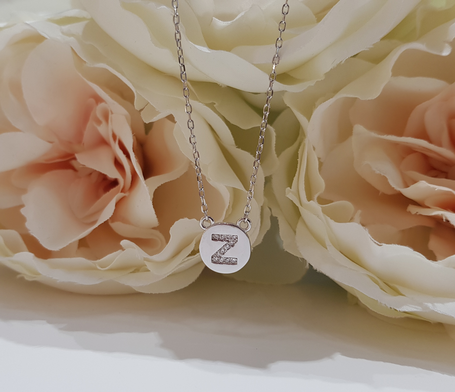 Sterling Silver Stone Set Initial Pendant & Chain - Letter Z