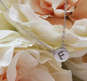 Sterling Silver Stone Set Initial Pendant & Chain - Letter F
