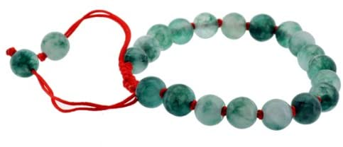 Green Beaded Drawstring Bracelet with Red Cord