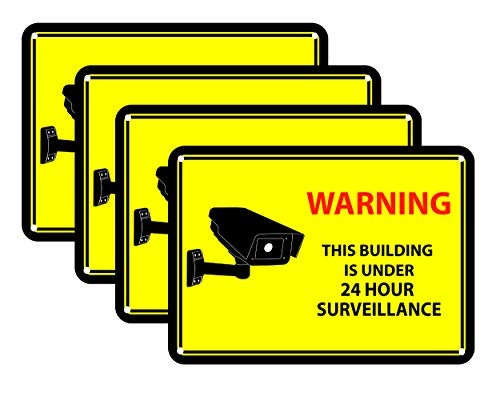 4 Yellow Warning Sticker Decals