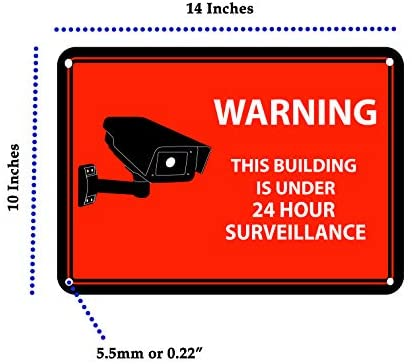 Close Up Security Camera Decal 24-Hour Video Surveillance Recording Warning Adhesive Window Stickers