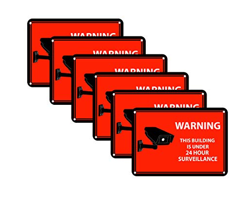 6 Red Surveillance Recording Decals