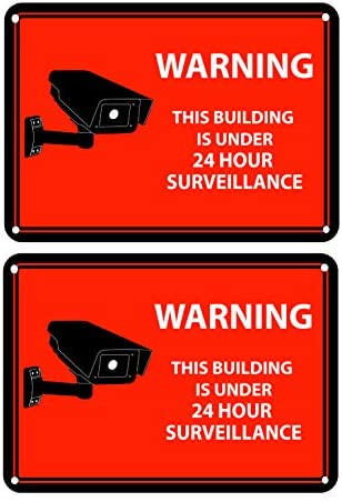 Security Camera Decal 24-Hour Video Surveillance Recording Warning Adhesive Window Stickers