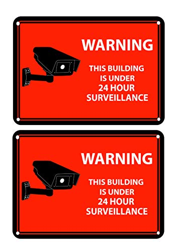 2 Red Warning Rectangular Front Adhesive Window Stickers