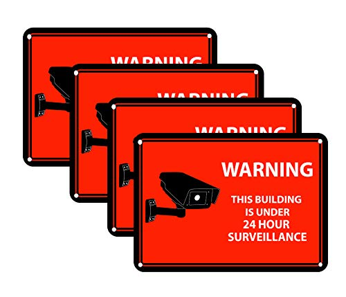4 Red Warning Sticker Decals