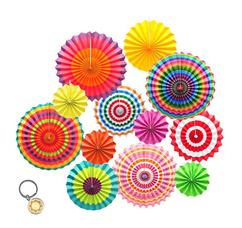 Mandala Crafts Fiesta Party Decoration Hanging Paper Fan Set for Mexican Themed Party, Cinco de Mayo, Birthday, Taco Night, Pack of 12