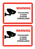 2 White Warning Rectangular Front Adhesive Window Stickers