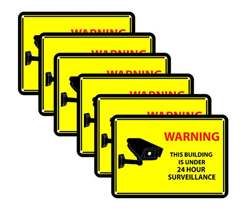 6 Yellow Surveillance Recording Decals
