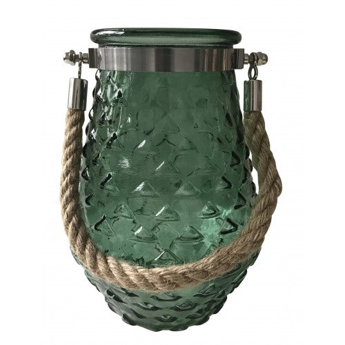 Green ribbed glass candle holder