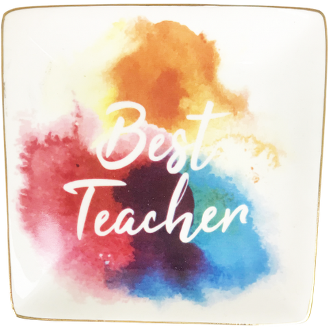 Best Teacher Sq Trinket Dish 12cm