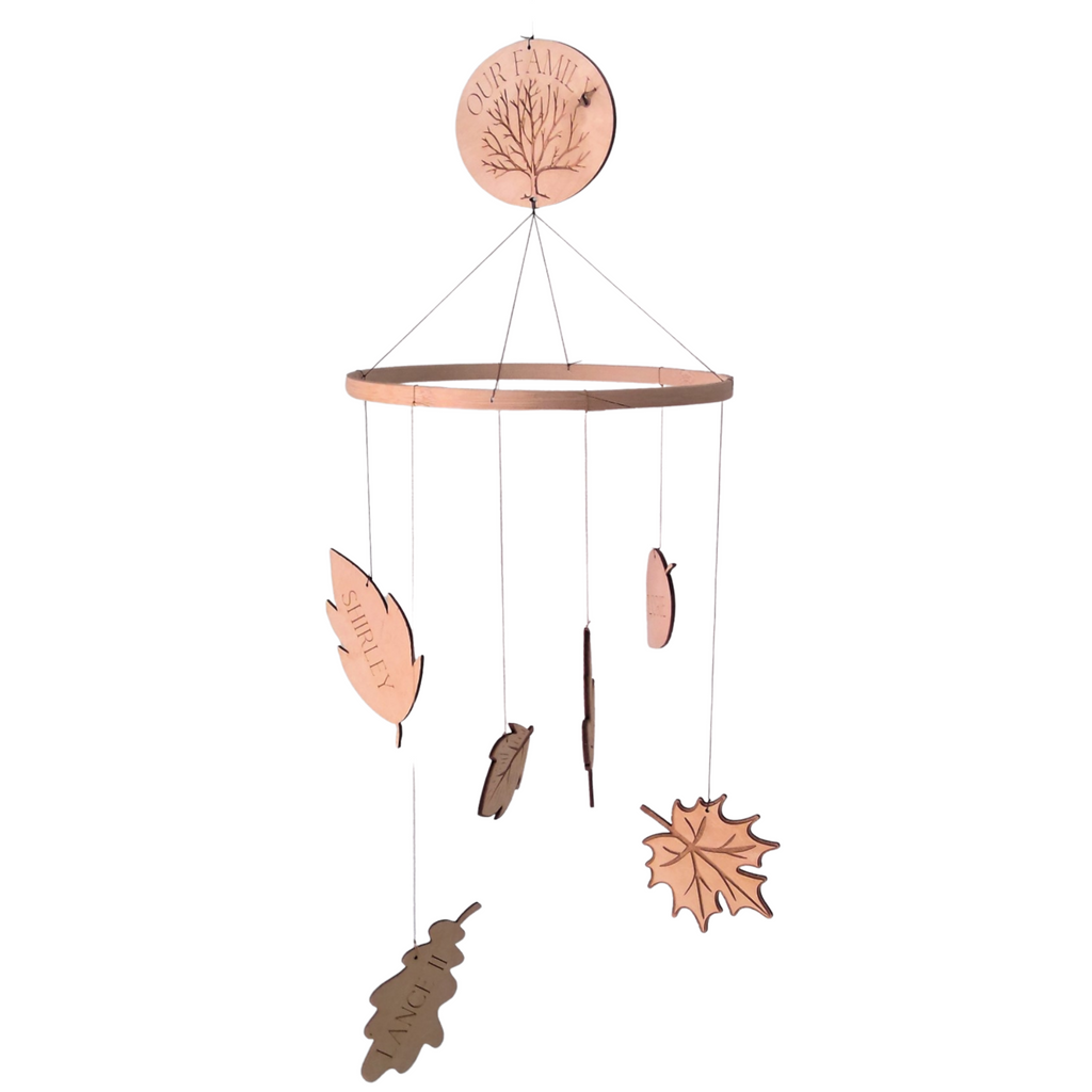 """Our Family Tree"" Wooden Leaf Mobile"