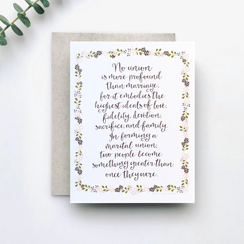 No Greater Union Wedding Card