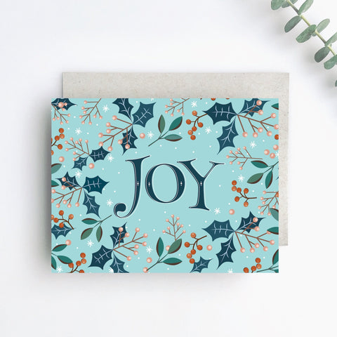Holly Joy Holiday Greeting Card