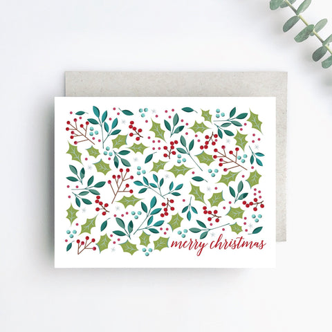Merry Christmas Floral Holiday Greeting Card