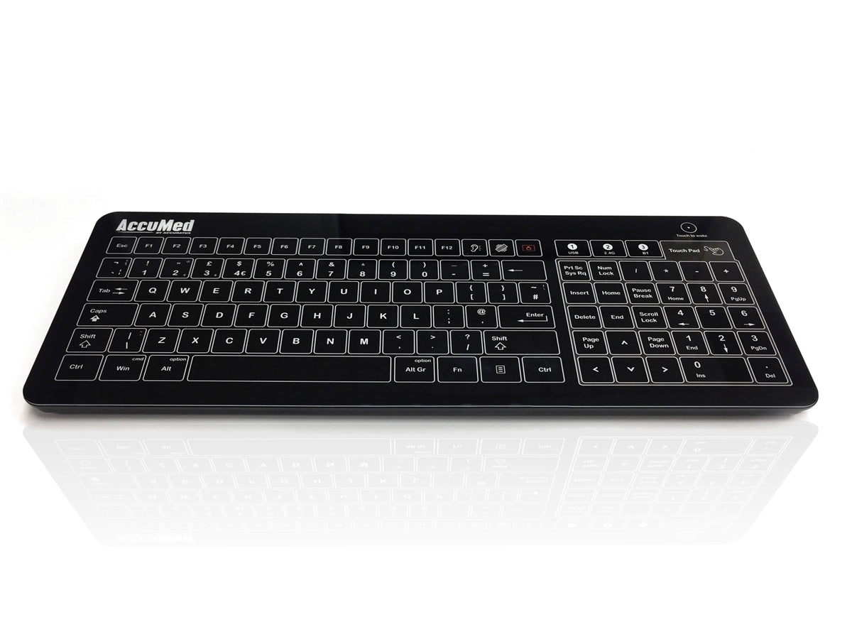 Accuratus AccuMed Glass - Easy Clean Tempered Glass, Wired & Wireless Clinical / Medical Touchpad Keyboard - Black