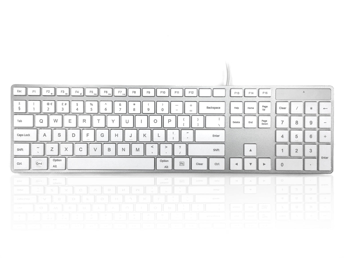 Accuratus 301 MAC - USB Wired Full Size Apple Mac Multimedia Keyboard with White Square Tactile Keys and Silver Case