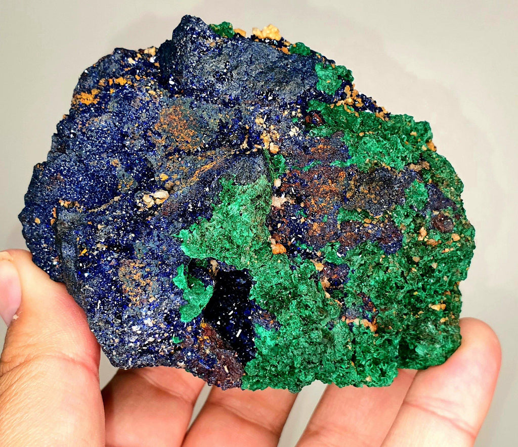MALACHITE AZURITE lustrous crystals 95x80mm From Morocco